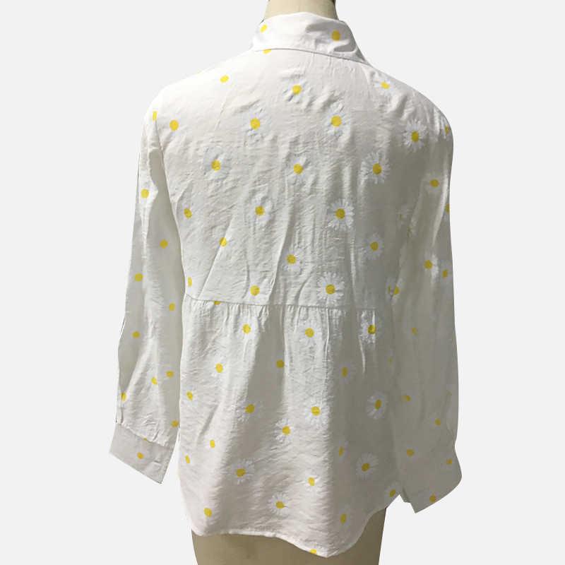 女性ヒナギク印刷シャツ白長袖ボタン v ネックルーズ女性 2020 トップス夏カジュアル女性シャツ特大 5XL