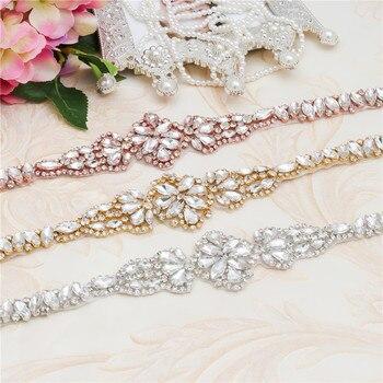 Cinturón de aplique de diamante de imitación con cuentas plateadas cristal Simple clásico cinturón de novia con marco blanco para vestido de novia