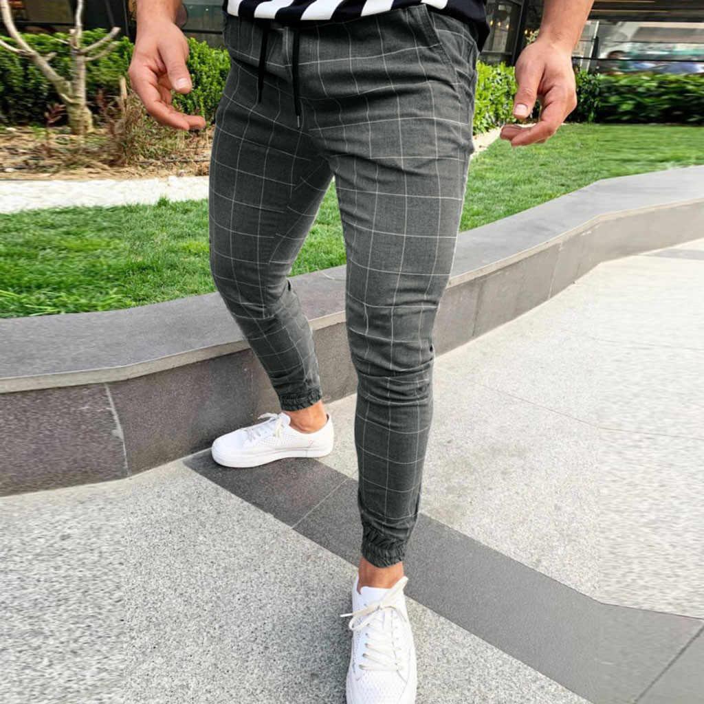 Pantalones Cenidos Ajustados Para Hombre Pantalon Chino Con Bolsillo De Moda De Pierna Recta A Cuadros Informales Para Correr Pantalones Informales Aliexpress