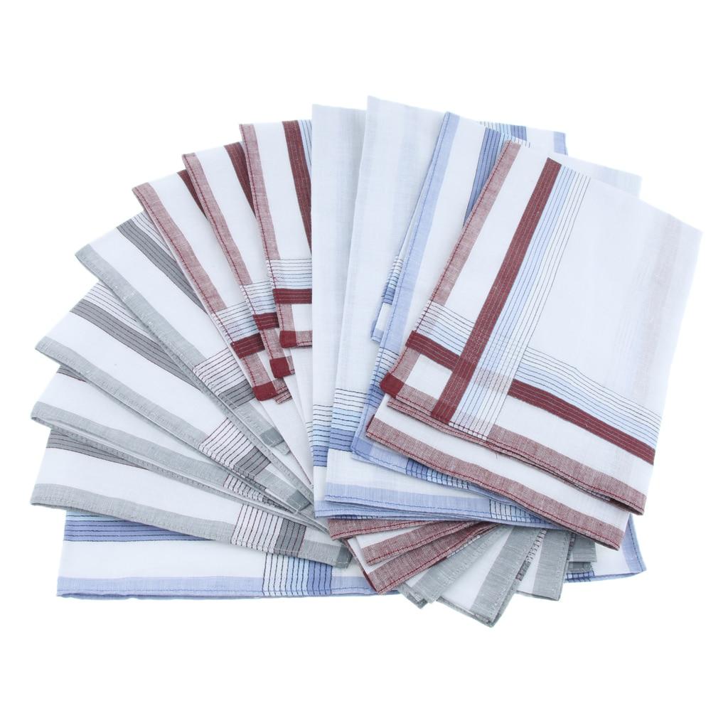 12 Pieces Men's White Plaid Cotton Handkerchief Pocket Square Hankies 40 X 40cm