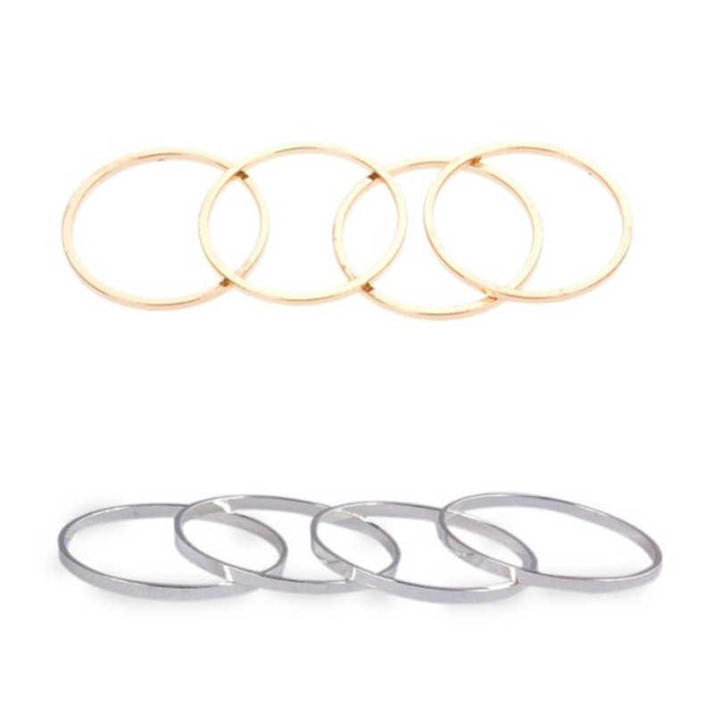 แฟชั่นแหวนพังค์สั้นบางแหวนเส้นผ่าศูนย์กลางสีทองและสีเงินแหวนขายส่งหญิง