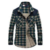 Mens Plaid Shirts Long Sleeve Shirt Spring Autumn Cotton 100% Casual Plaid Dress Shirt Men Pocket Green Yellow Plus Size XXXL