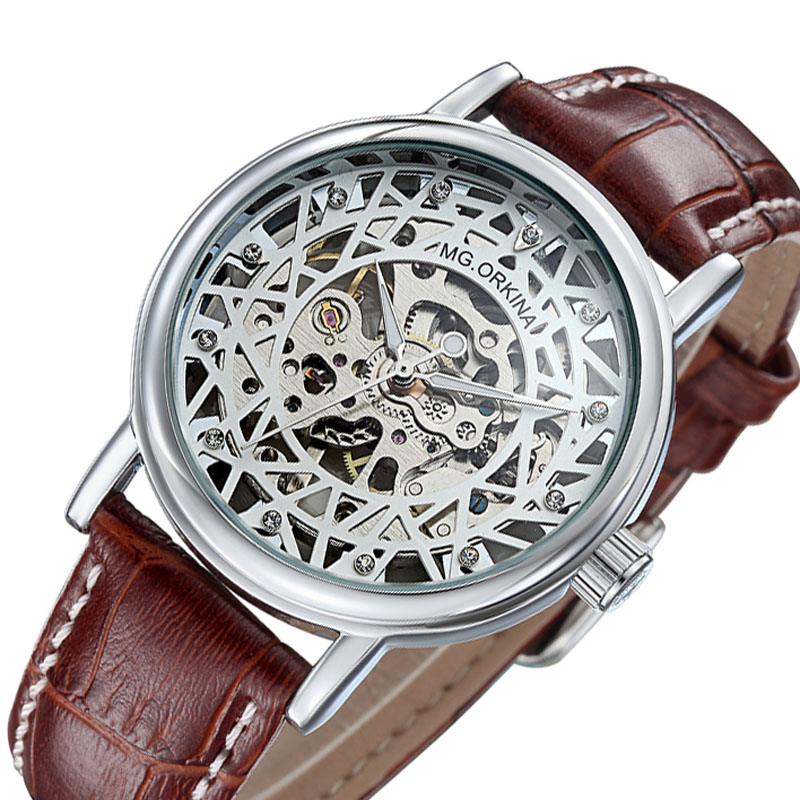 Man Watch Fashion Men Skeleton Watches ORKINA Top Luxury Brand Mechanical Hand Wind Watches Men Casual Wristwatch Leather