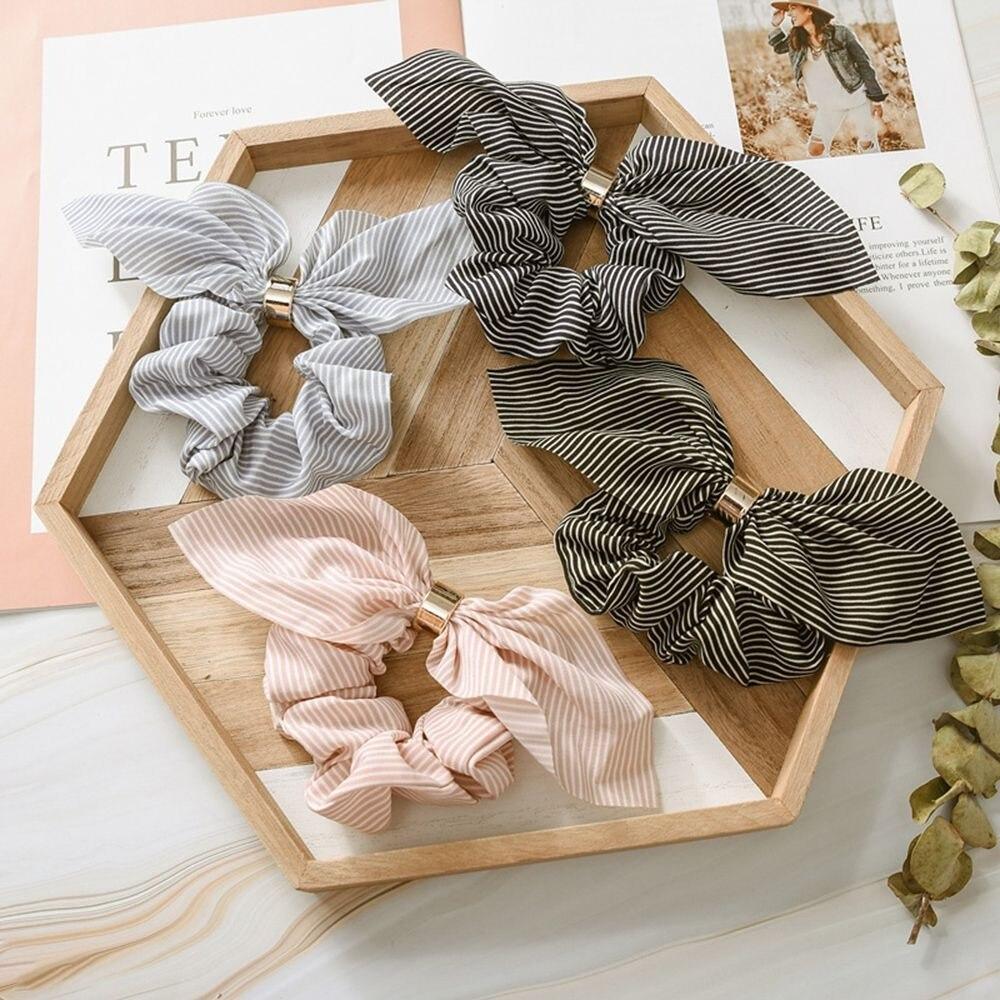 Cute Rabbit Ear Striped Hair Band  Hair Accessories Elastic Hair Band Headwear Women Girls Rubber Band Tie Hair Scrunchies