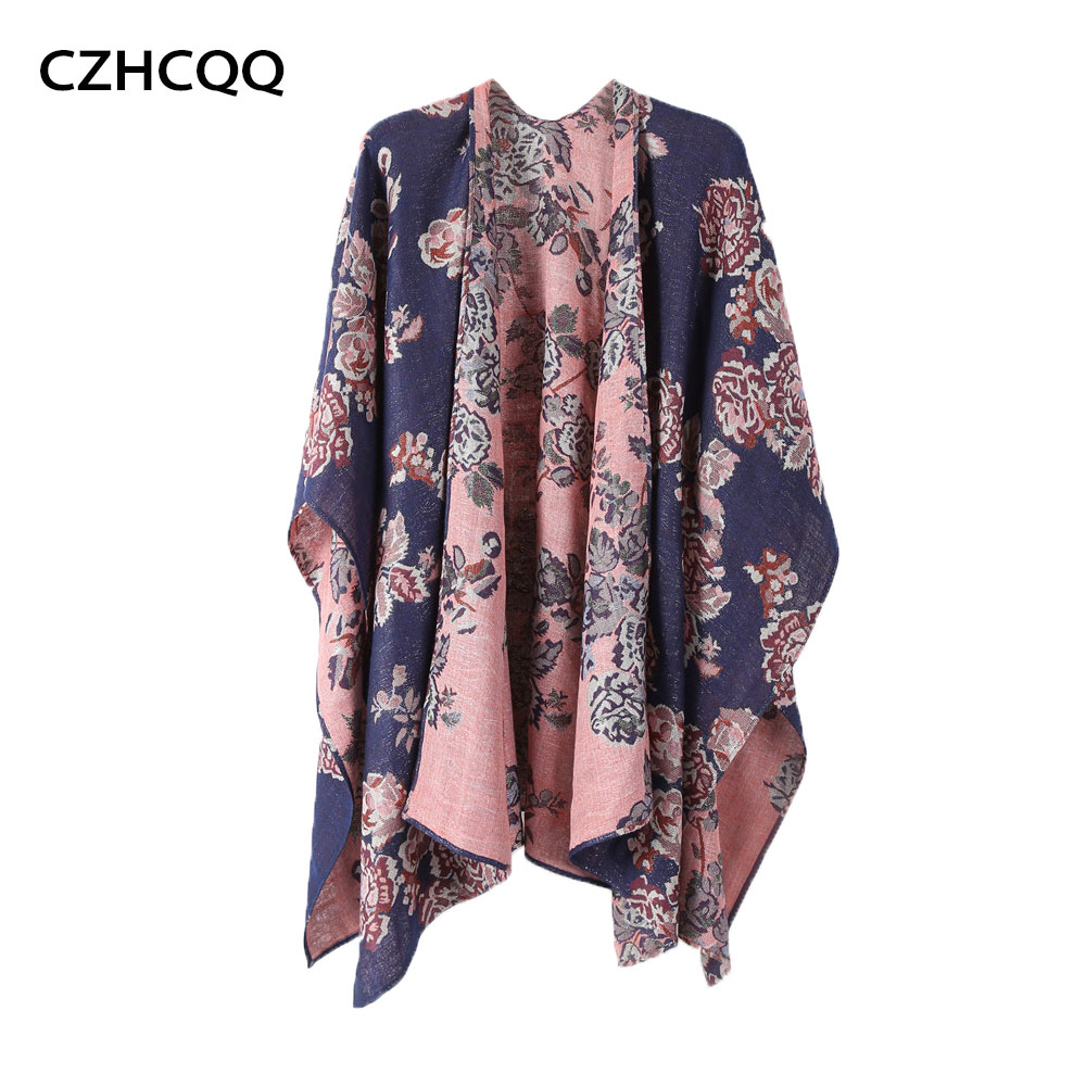Czhcqq Women's Floral Boho Kimono Long Blouse Loose Tops Outwear Oversized Poncho Cape Shawl Luxury Pashmina Feel Scarf Tunic