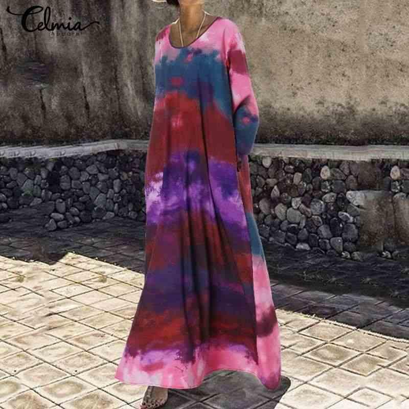 S-5XL, женское винтажное платье, богемное, с принтом, макси, длинные платья, 2019, повседневное, свободное, с длинным рукавом, с оборками, vestidos robe