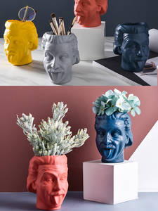 Vase Container-Head Statue-Decoration Flower Character-Sculpture Einstein Arrangement