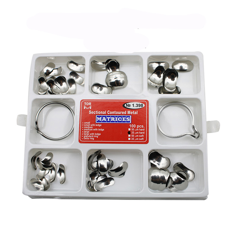 100pcs Dental Matrix Full kit Sectional Contoured Metal Matrices No 1 398 40pcs Silicone add on Wedges Rubber Dental material