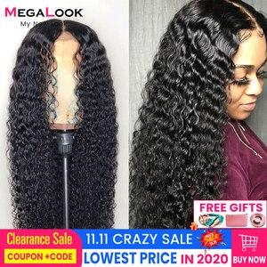 Image 1 - Peruka z mocnymi lokami koronkowa peruka z ludzkimi włosami brazylijska Remy 180 koronkowa peruka na przód 360frontal 30 cali 13x6 głęboka fala kręcone ludzkie włosy peruka