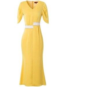 Image 3 - Senhora do escritório vestido longo 2019 nova qualidade Superior As Mulheres sexy Com Decote Em V Vestido de Festa s xxxl verão Vintage vestidos de Celebridades amarelo