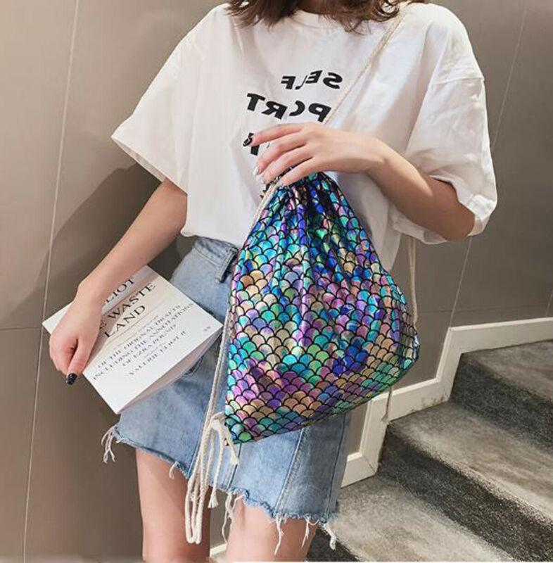 2019 New Fish Scale Women Drawstring Backpacks Travel Bags Lady Girls Mermaid Casual Drawstring Bags Fashion Hot