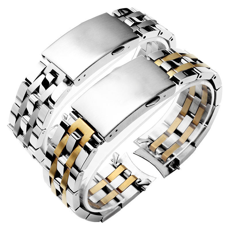 stainless steel watchband for T17 T461 T014 <font><b>PRC200</b></font> <font><b>watch</b></font> straps with Folding buckle silver and gold 19mm 20mm image