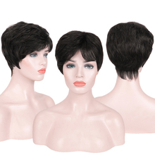 Brazilian Human Hair Short Wigs for Women Non-Remy Hair Natural Fashion Lady Short Fake Hair Daily Wig Natural Black Brown Wigs