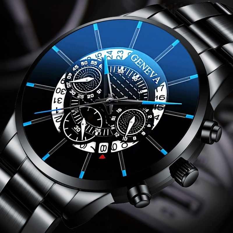 2020 Fashion Heren Horloge Quartz Classic Black Horloge Stalen Riem Luxe Kalender Bedrijvengids Horloge Herren Uhren Geschenken voor Mannen