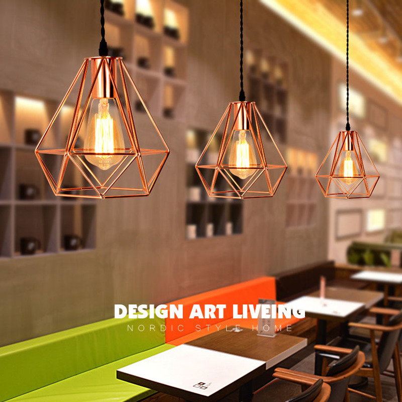Nordic Rose Gold Iron Cage Led Pendant Lights Loft Creative E27 Hanging Lamp For Living Room Kitchen Home Decor Light Fixtures