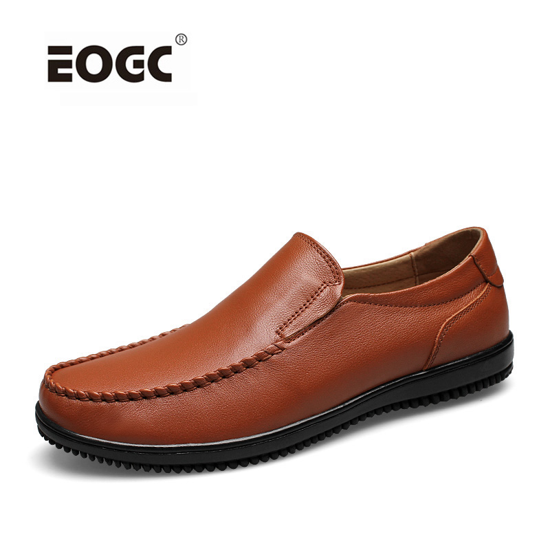 Full grain leather men shoes top quality handmade flats loafers casual