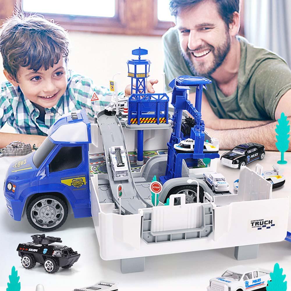 Parking Lot Police Cars Racing Track Toys Railway Rail Slot Birthday Kids Gifts