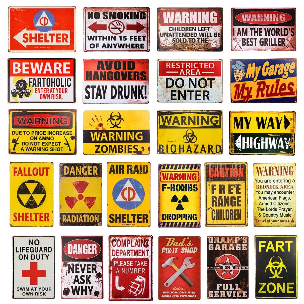 Dl-хэллоуин украшения старинные опасности мин Жестяная Табличка на гараж 12x8 дюймов