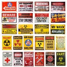 DL-decoraciones de Halloween Vintage peligro minas garaje estaño signo 8x12 pulgadas