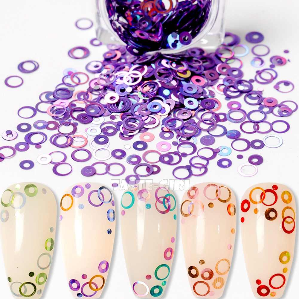 1 Jar Mix Maten Dromerige Kleurrijke Bubble Nail Glitter Holo Ronde Cirkel Pailletten Arylic Nail Art Paillette Decoraties Diy Yq #