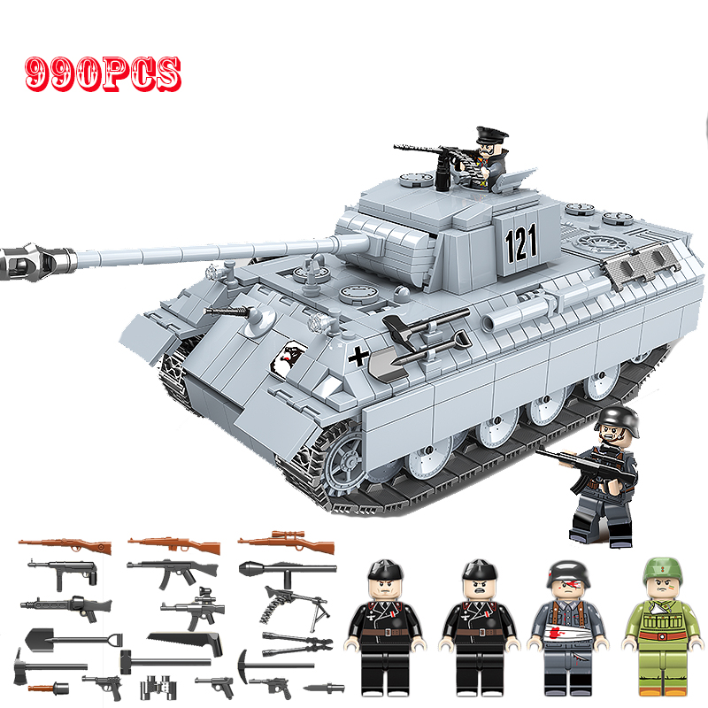 NEW 990PCS Military Panther Tank 121 Building Blocks Legoing Technic Military WW2 Tank Army Soldier Weapon Parts Bricks Kids Toy