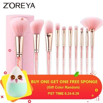 Zoreya Brand Concealer Blending Professional Makeup Brushes 10pcs Soft Synthetic Hair Blush Foundation Eye Shadow Fan Brush