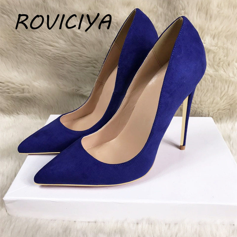 Dark Blue Mature Woman Sexy Pumps 12cm High Heel Slip-on Wedding Shoes Pointed Toe Evening Party stilettos Heels RM013 ROVICIYA