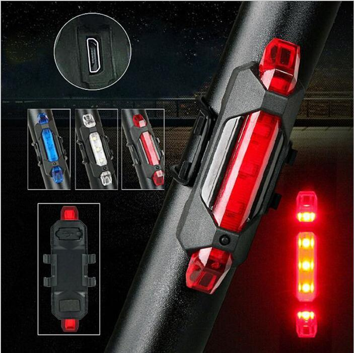 Bicycle Light USB Rechargeable Bike Bicycle Light LED Taillight Front Rear Tail Safety Warning Cycling Portable Light