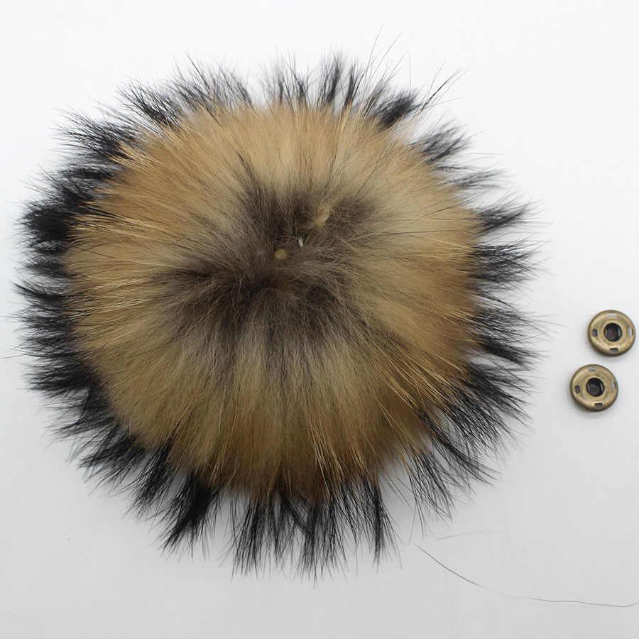 14-15 Cm Real Fox Fur Pompom Mink Bulu Bulu Pom Pom Sebagai untuk Topi Natural Raccoon Bulu Pompon untuk syal Sarung Tangan Gantungan Kunci