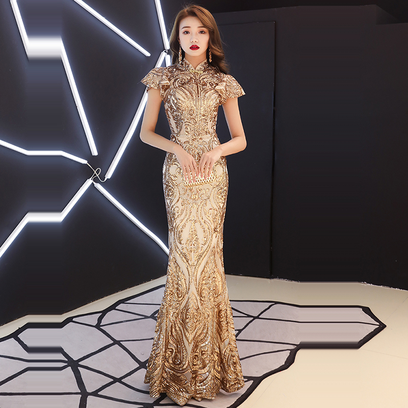 Evening Dress Short Sleeve Sequined Robe De Soiree 2019 Floor Length Elegant Women Party Dresses High Collar Evening Gowns F181