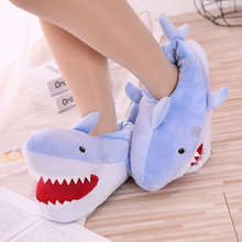 Winter Fur Slippers Super Animal Funny Shoes Men and Women Warm Comfortable Home House Indoor Floor Shark Shape Furry Slides(China)