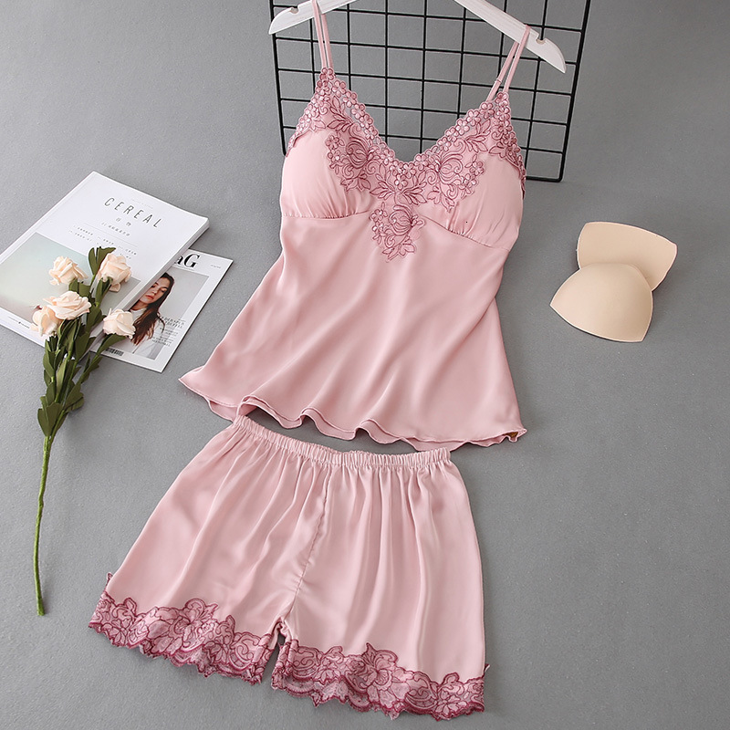 Ice Silk Touch Soft Women Pajamas Embroidery Sexy V Lead Spaghetti Strap Shorts Set Sleepwear