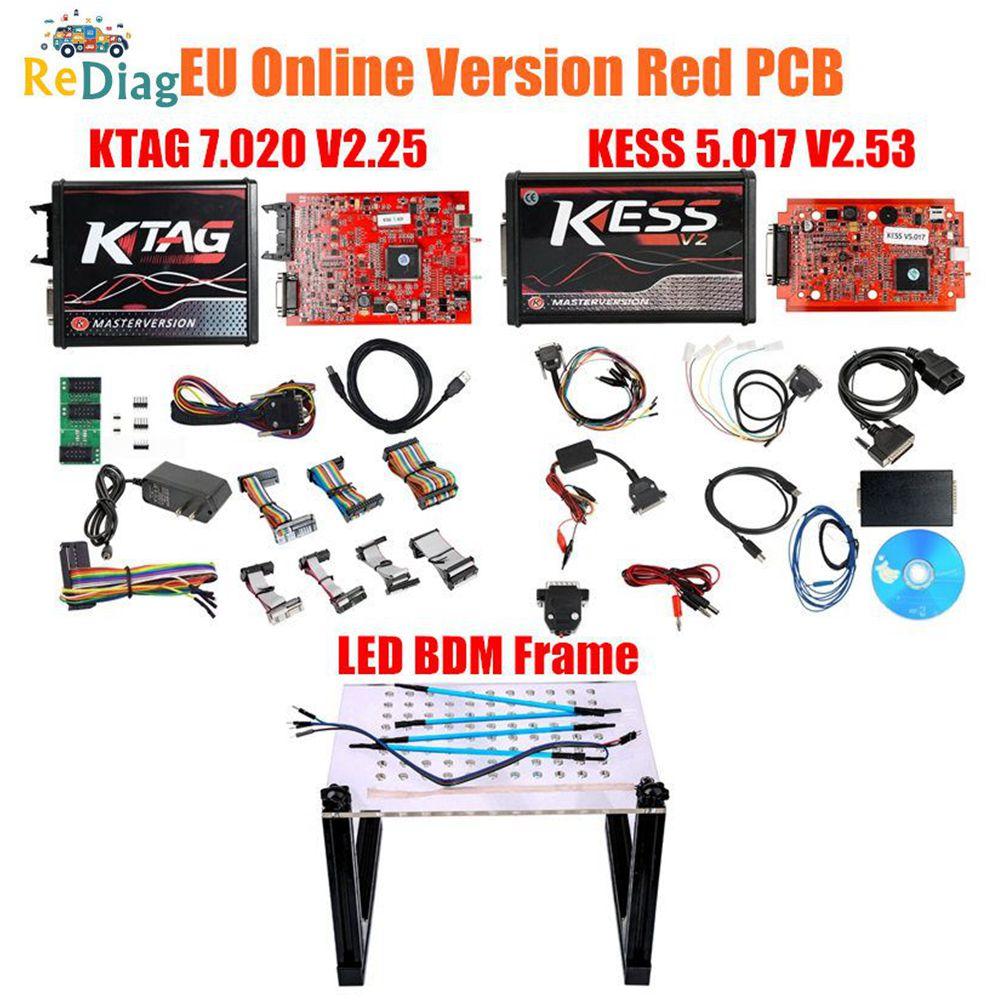 2019 KESSV2 KESS V2 V5.017 ue czerwony V2.53/V2.23 tytanowe ecm KTAG V7.020 4 LED Online wersja główna ECU OBD2 samochód/ciężarówka programista