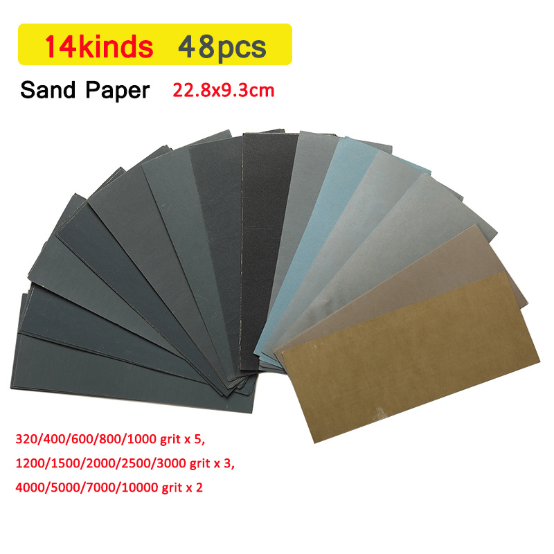 5 Pieces Sandpaper Set 2000 2500 3000 4000 5000 Grit Sanding Paper Water/Dry Abrasive SandPapers 230 * 280mm
