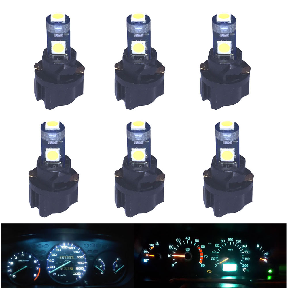 6pcs X T5 LED Light Mini Wedge Bulb PC74 Lamp Car Replacement Dashboard Instrument Panel Light Kit For Suzuki Swift Grand Vitara
