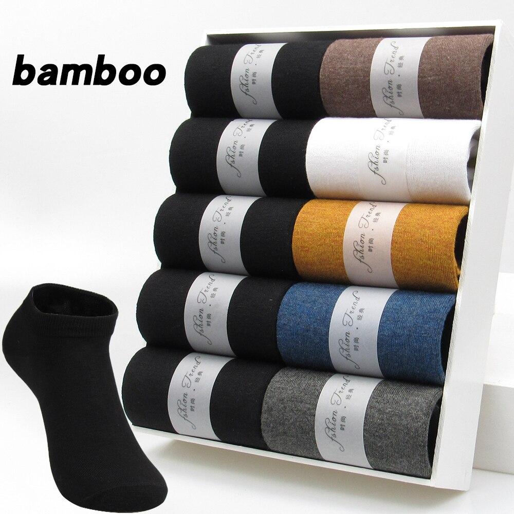 Носки мужские из бамбукового волокна 10 пар, дышащие тонкие короткие, дезодорирующие, черные, лето 2021