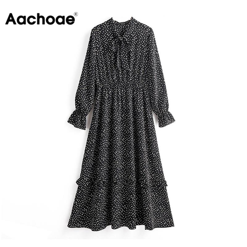 Aachoae Vintage Elegant Bow Tie Collar Print Dress Women Long Sleeve Ruffle Midi Dress Elastic Waist Casual Black Dresses 2020