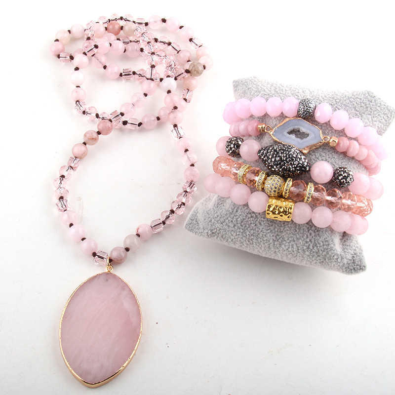 RH Fashion Perhiasan Set Semi Berharga Manik-manik Dalmatian Batu Diikat Batu Liontin Kalung dan Gelang untuk Wanita Perhiasan