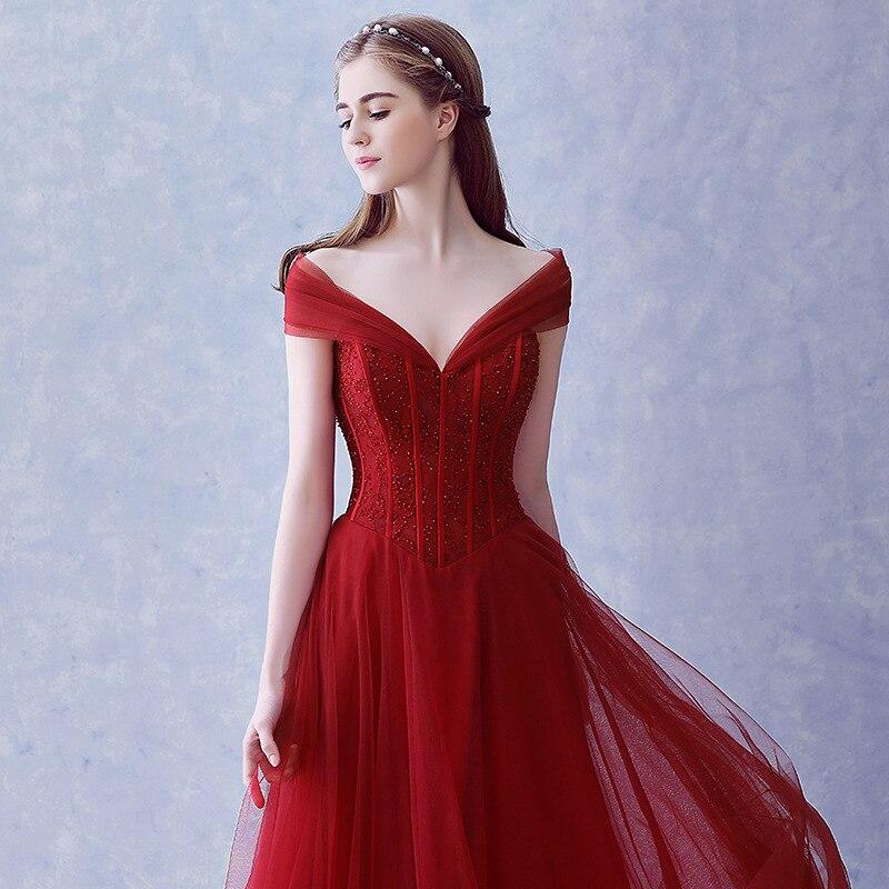 Femmes robe rouge élégante nouvelle mince hors de l'épaule col en v robe Vintage longue robe perlée dentelle conception parti Club robes Vestidos