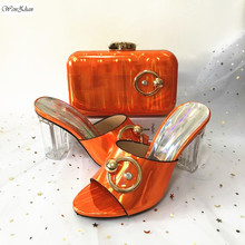Orange Soft Shoes And Matching Bags Lady Gril Shoes African High Heel Shoes and Bags Set Decorated With Rhinestone 911-29 cheap WENZHAN Super High (8cm-up) Basic Thin Heels CRYSTAL Spring Autumn Peep Toe African Shoes match bag Fashion Slip-On Party