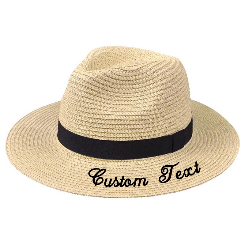 Embroidery Personalized Custom Text Name LOGO Unisex Sun Hat Large Brim Straw Hat Outdoor Beach hat  Summer Topper hat