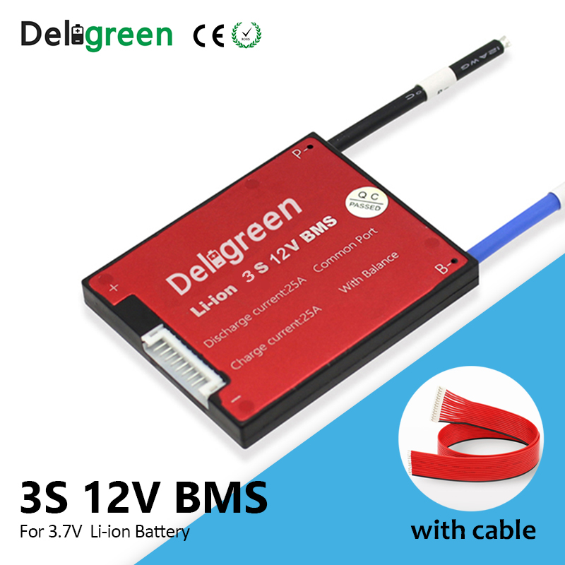 Deligreen 3S 10A 20A 30A 40A 50A 60A BMS for 3.7V lithium battery pack with separate charging port for 18650 Li-ion packs image