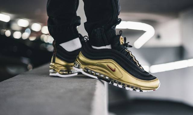 US $76.0 62% OFF Original Nike Air Max 97 QS Men's Running Shoes Outdoor Sneakers Black Gold Athletics Designer Footwear Good Quality AT5458 002 on