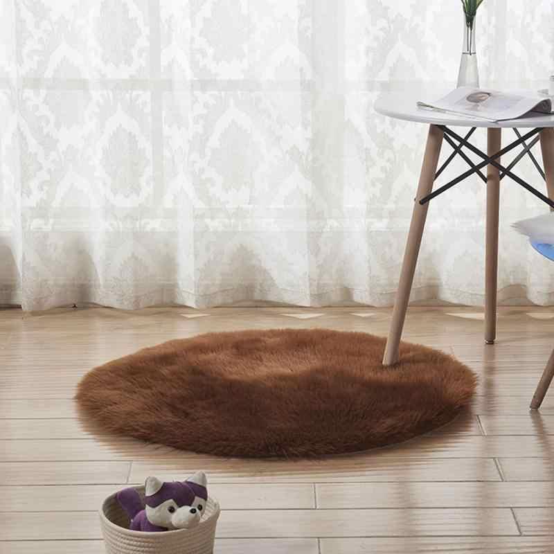 חדש רך פו פרווה צמר סלון ספה שטיח שטיחי קטיפה שינה כיסוי מזרן חג המולד דלת חלון עגול שטיחים שטיחים