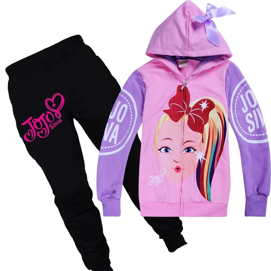 Jojo Siwa Girls Hooded Hoodies Casual Cartoon  Kids SweatShirts+Pants Outfits
