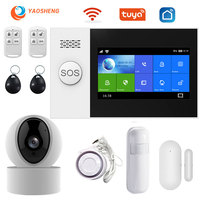 Tuya security alarm system Kit APP Control With IP camera Auto Dial Motion Detector Wife Gsm Home smart alarm