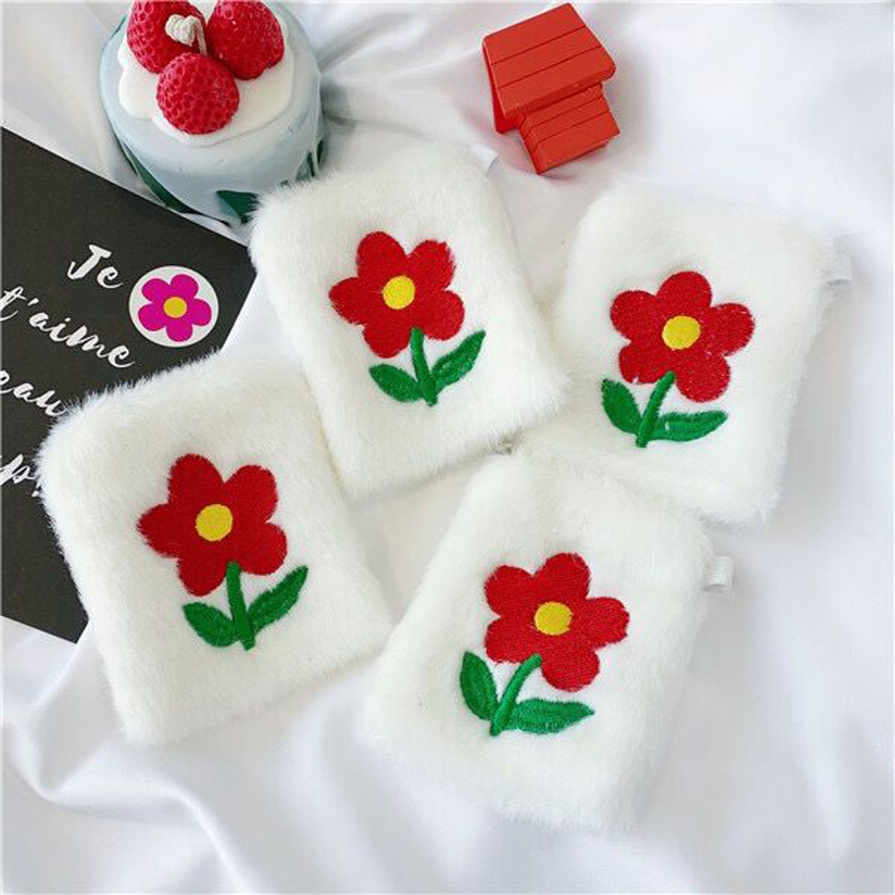 Coin Wallets Girls Cute Money-Bag Embroidery Zipper Mini Korea Floral White Flower Soft