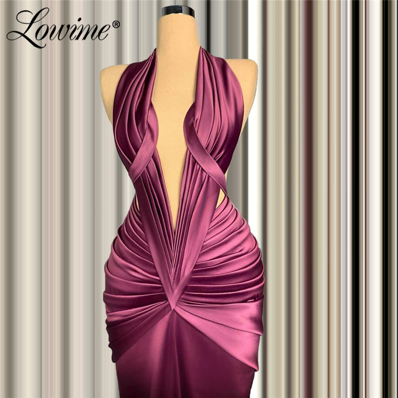 Vestidos Halter Mermaid Evening Dresses Saudi Arabia Party Gowns 2020 Custom Made African Prom Dress Robe De Soiree