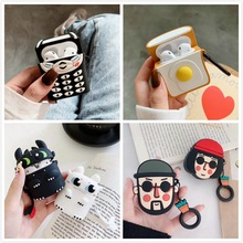 3D Phone Earphone Cases For Airpods 2 Case Silicone Bear Cute Cartoon Cover For Apple Air pods Case