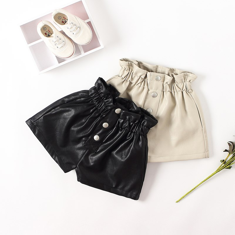 PU Leather Shorts for Kid Girls Winter Thick Fleece Lining Faux Leather Short Children Casual Solid High Waist Elastic Bottom 1